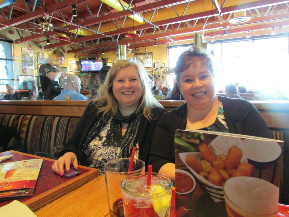 Lori Burrell and Nicole Leiren at Red Robin for a pre-retreat lunch