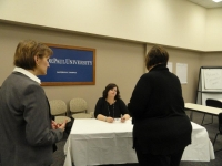 "Danielle Egan-Miller at our ""Ask an Agent"" booth"